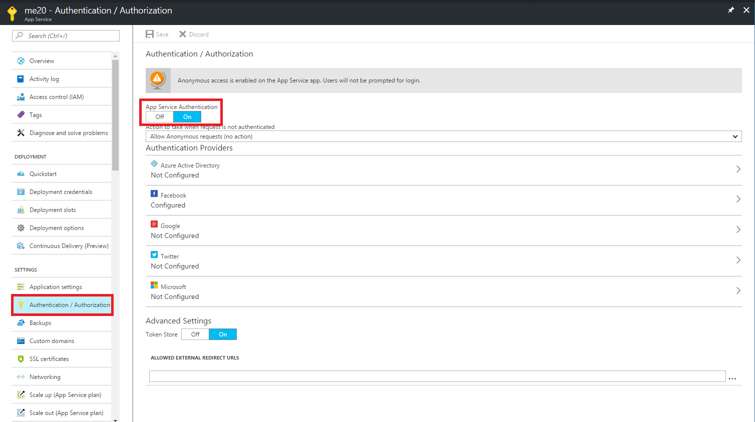 Azure App Services – Authentication with FB, Google and