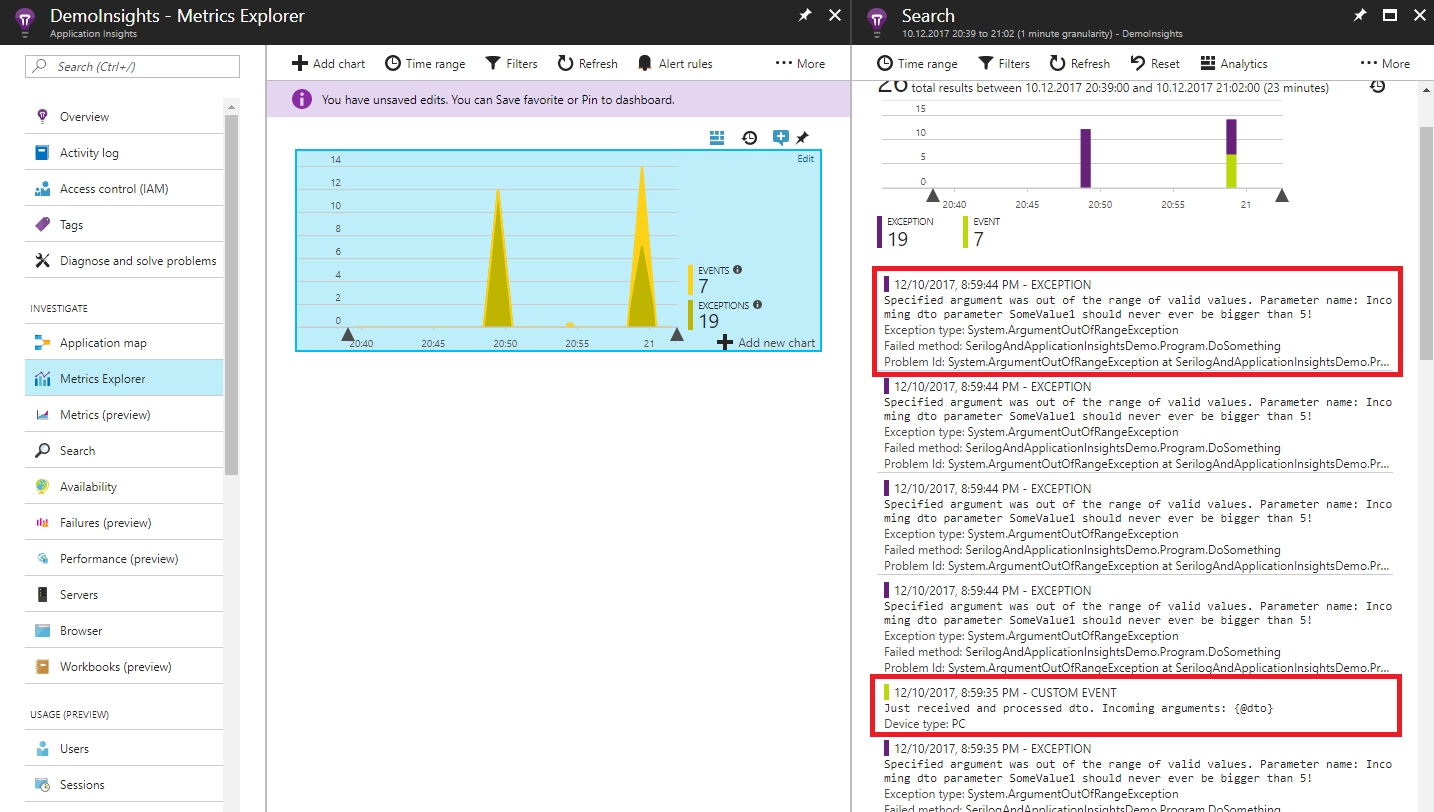 Structured logs with Serilog and Application Insights